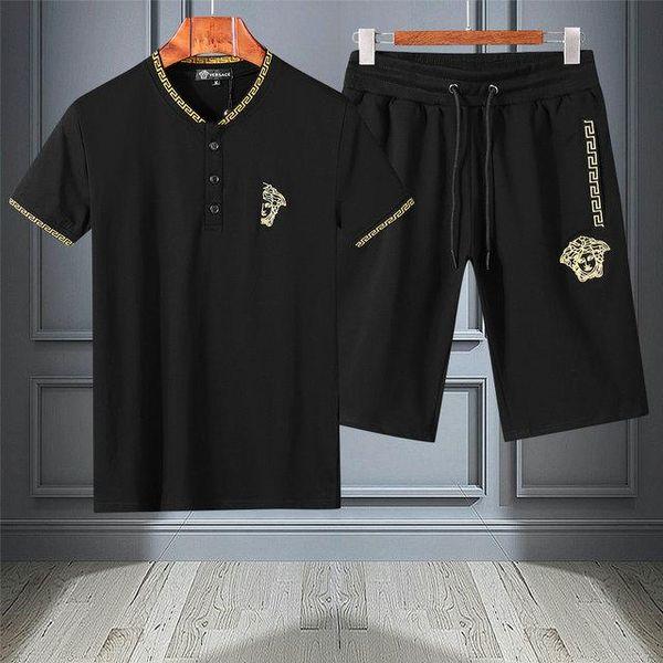 neuer Designer-Anzug für Herren T-Shirt und Hose Herren-Kurzanzug aus Baumwolle Sport-Kurzanzug für Damen 2-teilig m-4xl # F26