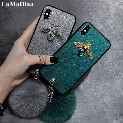 wholesale Luxury Fashion Bling 3D Diamond Bee Bracelet Fox Fur Ball Soft Phone Case For iPhone X XS Max XR 6 6S 7 8 Plus Cover