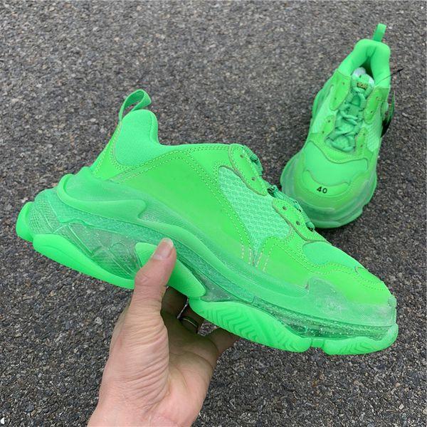 2019 Yeşil Üçlü s Temizle Taban Yastık Rahat Ayakkabılar BL Siyah beyaz Paris Sneakers Chaussures de tasarımcı Kadın Erkek Eski Büyükbaba Eğitmenler