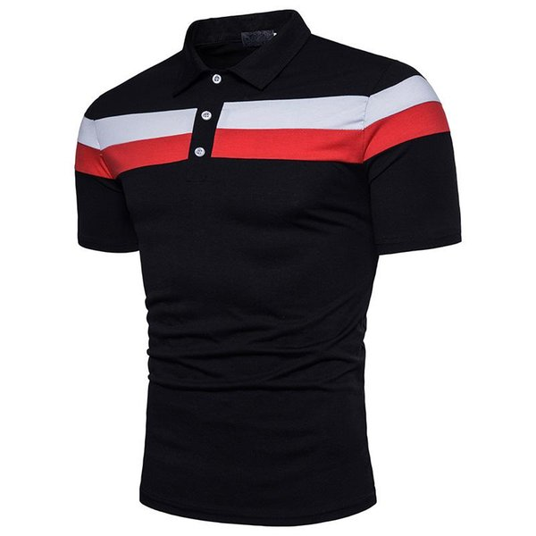 Summer Men Polo Shirt Men Top Tee Men's Striped Casual Slim Fit Shirts Short Sleeve Patchwork Shirt Top Blouse Plus Size M-3XL J190702