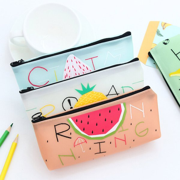 Estilo de fruta Lindo estuche de lápices escolares para niña Novedad Jelly Gel Bolso de lápices Kawaii Papelería Zakka Office School Supplies Escolar