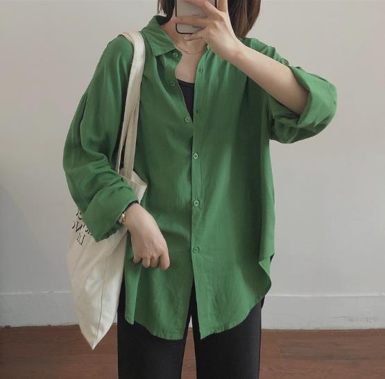 f737605eb Vestido con cuello verde Camisa verde para mujer Verano 2019 Nueva versión  coreana Blusa de manga