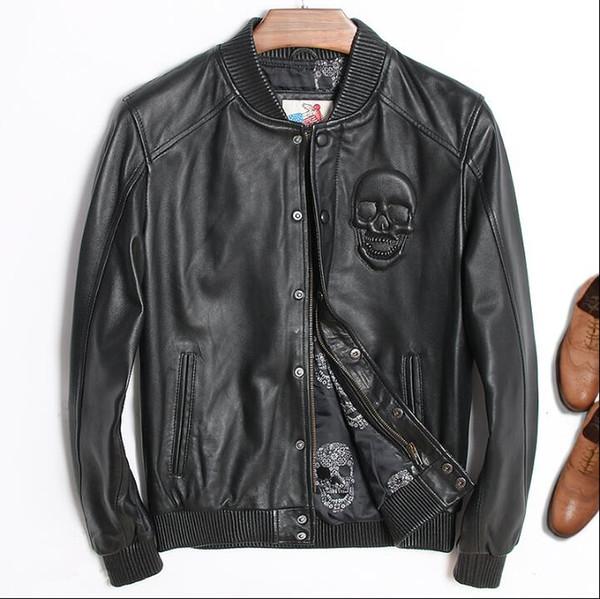 Nuevo uniforme de béisbol juvenil de cuero para hombre Wu Xiubo con una chaqueta ligera de lujo en piel de oveja