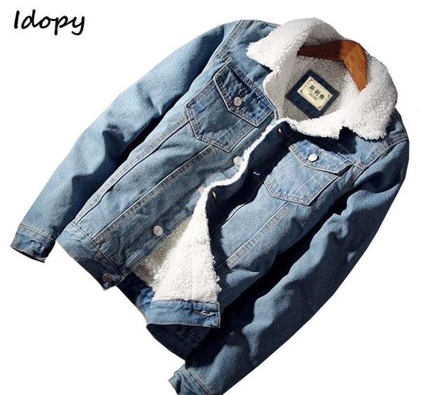 Idopy `s degli uomini Casual Giacca di jeans con pelliccia foderato addensare cappotto caldo pile Jean tuta sportiva: Uomo T4190617