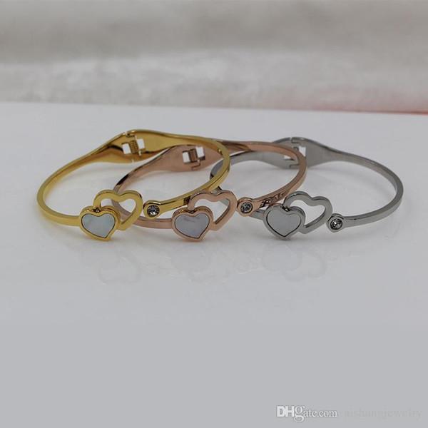 PB90 nouvelle mode coeur et âme belle coquille printemps ouverture plaque en or bracelet pour cadeau livraison gratuite