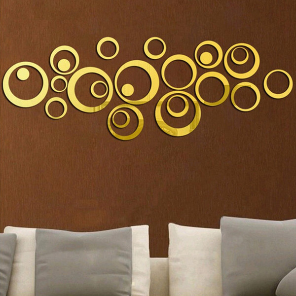 20Set 24pcs/lot Acrylic Mirror Surface Polka Dots Circle Wall Stickers For Kids Baby Rooms Home Decor Round Wall Decals DIY Art Mural