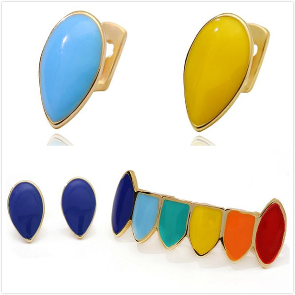 New 18K Gold Colorful Vampire Up Single Teeth Grills Bottom Hip Hop Drip Fang Grillz Halloween Dental Tooth Cap Decoration Jewelry for Sale