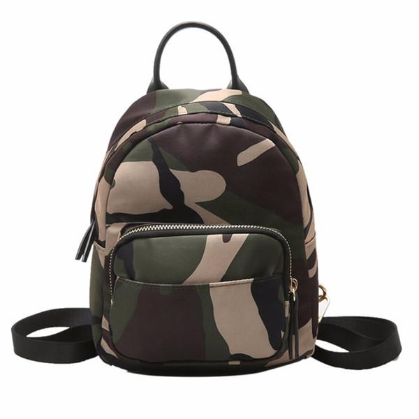 Women Nylon Mini Backpack Girls Fashion Camouflage School Bag Ladies Multifunction Travel Small Rucksack Mochila Feminina Mujer Y19061204
