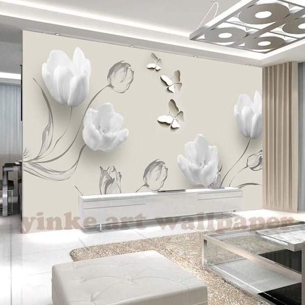 custom 3D wallpaper photo fashion simple white tulip butterfly mural living room TV sofa background wallpaper papel de parede