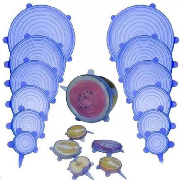 6PCS / SET Coperchi elastici in silicone Coperchio universale per alimenti in silicone Coperchio per pentole Coperchio in silicone Pentola Cottura Accessori da cucina