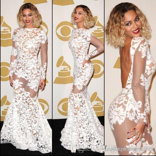 Beyonce Grammy Awards Cheia Lace Sereia Vestidos de Baile Jóia Long Neck Ilusão Mangas Backless Sweep Train Formal Vestidos de Festa Vestido de Noite