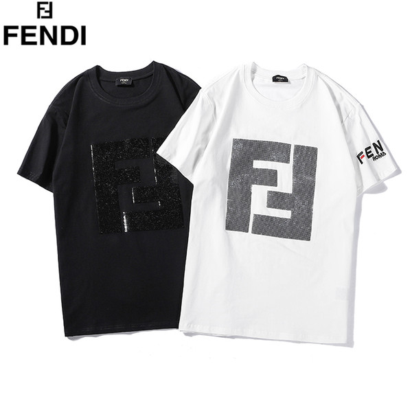 YXA21 FF Brand letter embroidery splicing T-shirts Couples solid cotton Short Sleeve Men women Hip Hop Street Style Top Tees Shirt