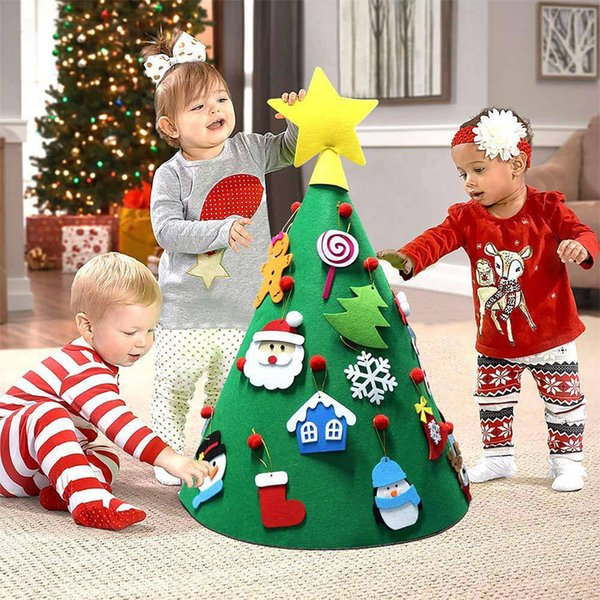 3D DIY Felt Toddler Christmas Tree New Year Kids Gifts Toys Artificial Tree Xmas Home Decoration Hanging Ornaments sS75!!