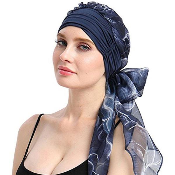 Haimeikang 2019 New Women Chemo Cap Turban Long Hair Band Scarf Head Wraps Hat Boho Pre-Tied Bandana Hair Accessories for Women