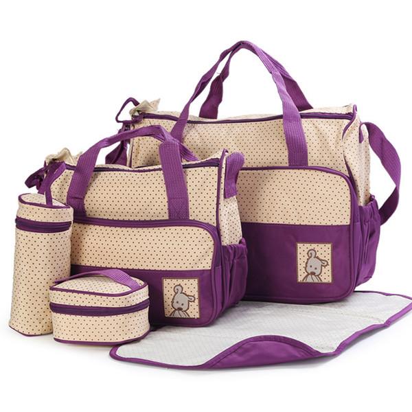 5 Pcs Baby Nappy Changing Bags Set, Large Handbag Diaper Changing Mat Bottle Holder(Red)