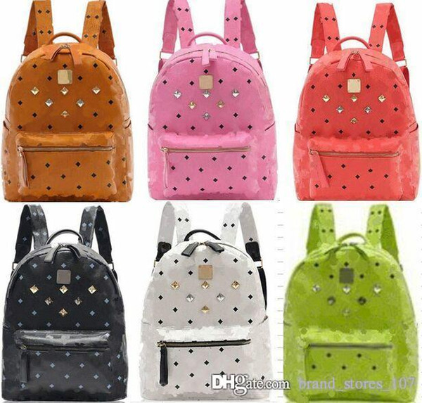 2020 New Arrival Brand Fashion School Bags Hot Punk Style Men Women Backpack Rivet Crown Student Backpack PU Leather Lady Shoulder Bag Bags