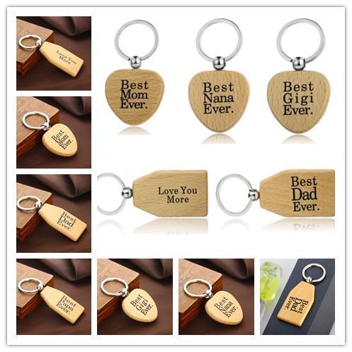 Llavero de la manera simple las letras de bricolaje de madera llaveros de 6 estilos de la forma redonda de madera llavero del coche pendiente de los accesorios mejor regalo