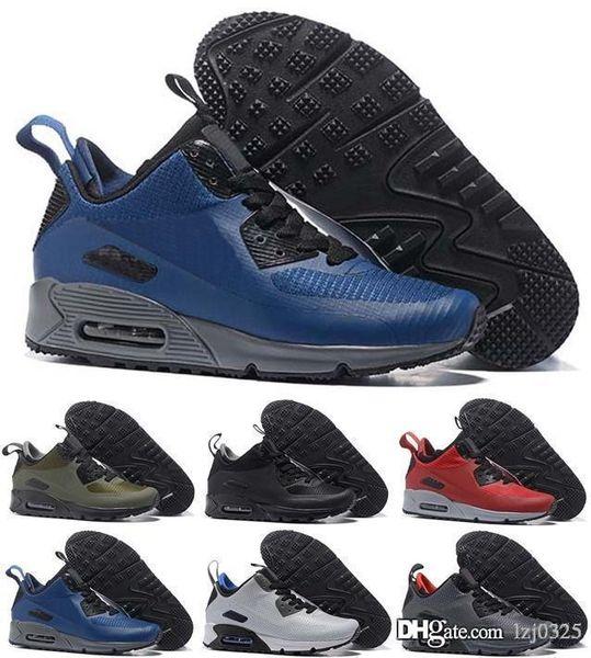 another chance new lifestyle cheap for sale Acheter Nike Air Max Airmax 90 Chaussures Noir Argent Gris Bleu Jet D'encre  Mens Formateurs Rose Jaune Marque Chaussures Chaussures De Plein Air ...
