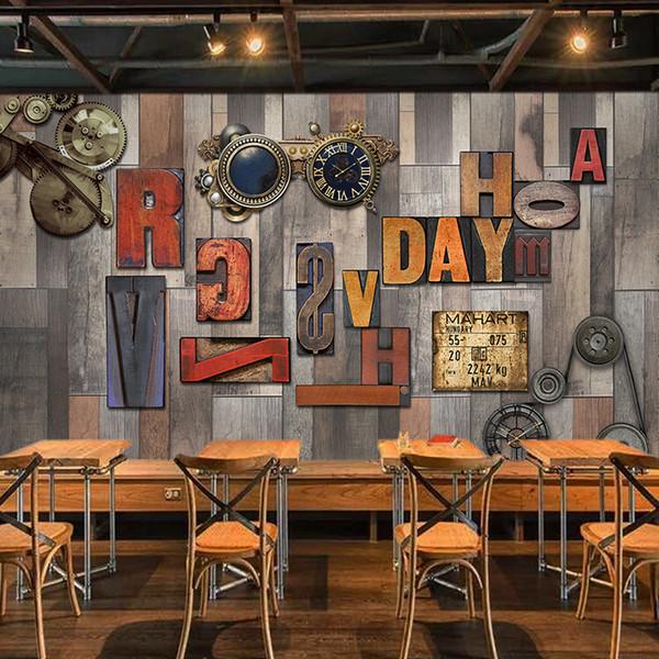 Papel De Parede 3D Retro Engrenagem De Madeira Alfabeto Foto Murais de Parede Restaurante Café KTV Bar Decoração Da Parede de Papel De Parede Pano de Fundo Afrescos