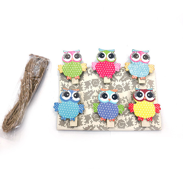 6 Pcs/set Photo Clip Cute Cartoon With Rope School Wooden Clip Mini DIY Office Paper Craft Supplies Binding Owl