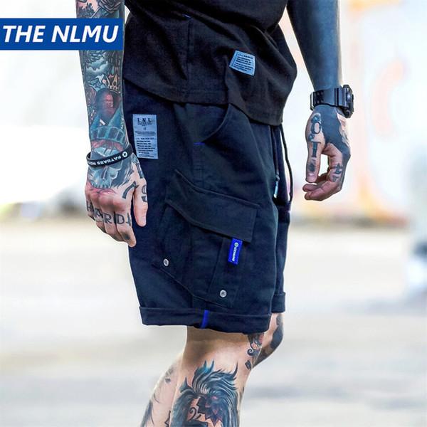 Сплошной цвет шорты мужские уличная одежда хип-хоп карманные спортивные штаны 2019 летняя мода шорты карго мужчины Cothing черный темно-синий HA103