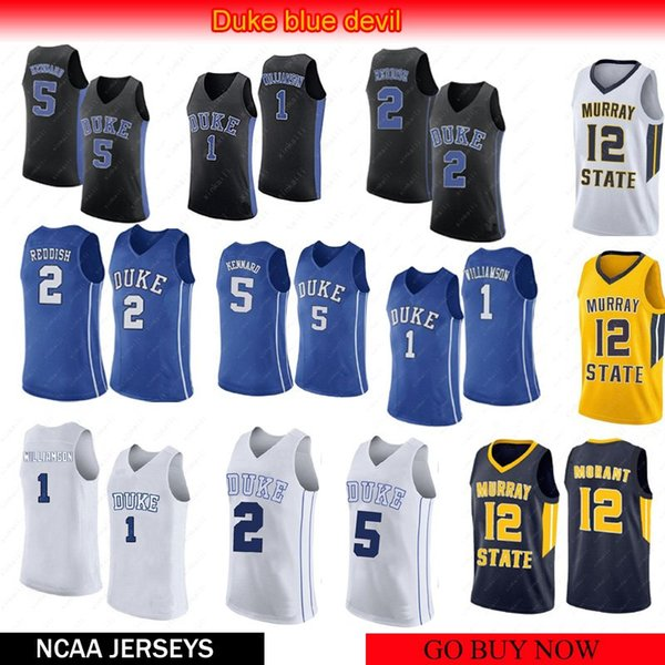 Men NCAA 12 Ja Morant Murray jerseys 2 Cameron Reddis 5 RJ Barrett Duke Blue Devils 1 Zion Williamson Basketball Jerseys Embroidery sewing
