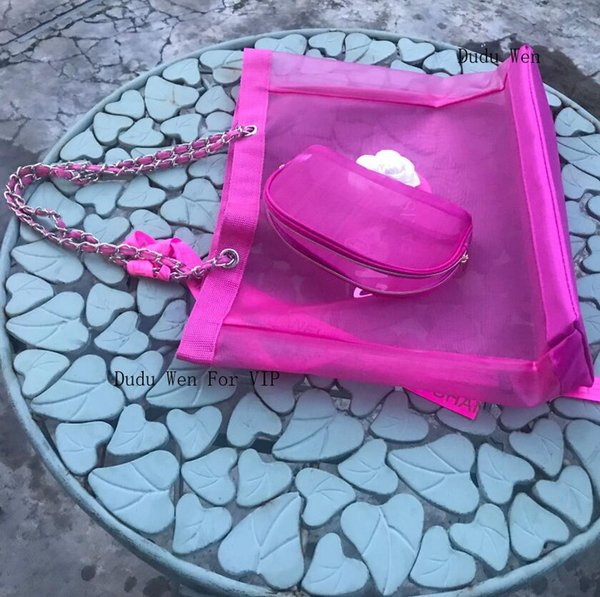 Pembe renk ~ 2 torba Set Vip hediye saklama çantası Moda C Orgainizer Kadınlar ribbion ile moda örgü tote moda Seyahat örgü Organizatör perrty ev için