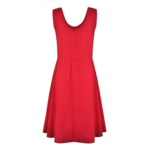 2019 New Simple Design abito estivo da donna girocollo senza maniche grandi penne colori solidi abiti da donna ourdoor streetwear taglie forti S-3XL