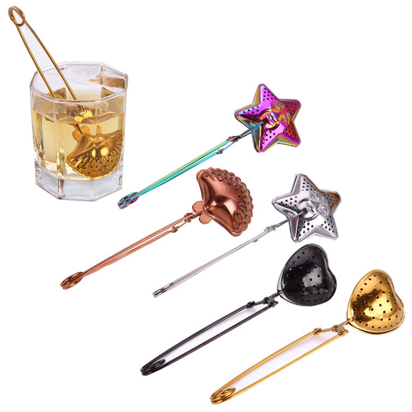 Stainless Steel Tea Strainers Tea Spoon Seasoning Infuser Star Shell Oval Round Heart Shape Coffee Tea Filter Balls Kichten Tool