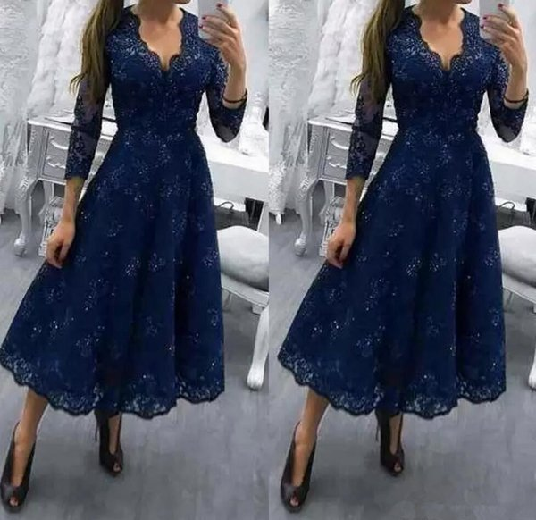 Navy Blue V Neck Modest Tea Length Plus Size Mother of the Bride Dress Three Quarter Sleeves Wedding Party Gowns Lace Formal Guests
