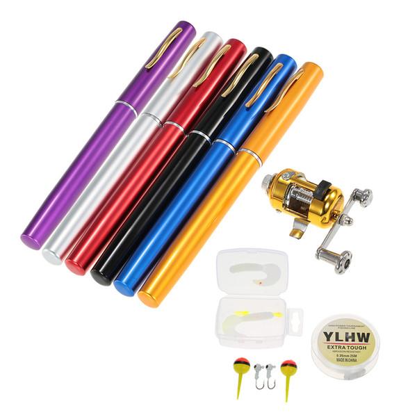 Fishing Rod Reel Combo Set Mini Portable Pocket Pen Fishing Rod Pole + Reel Aluminum Alloy Line Soft Lures
