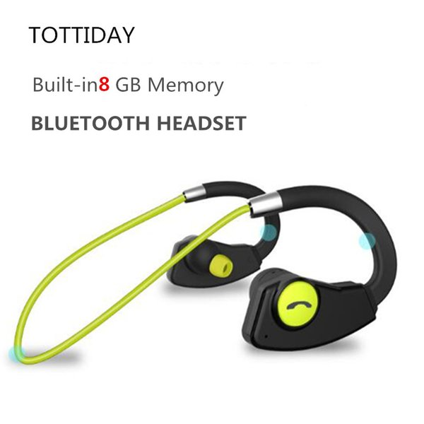 TOTTIDAY Sweatproof 8GB Bluetooth Earphone MP3 Music Player Wireless Sport Earbuds Headset with Mic Handsfree for Mobile Phones