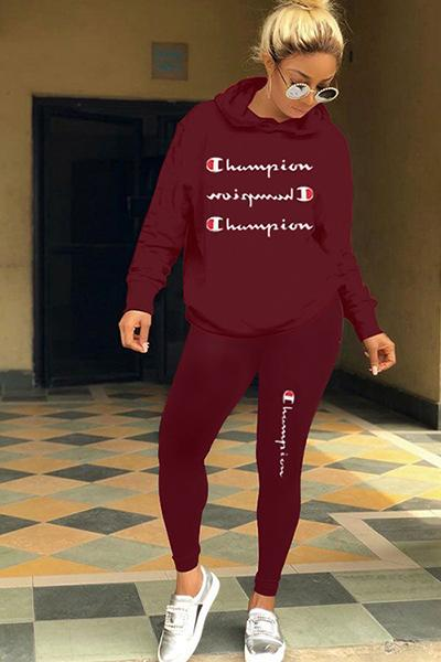 2019 fashion women's new autumn and winter letter embroidery long-sleeved hooded sweater casual sportswear suit two-piece