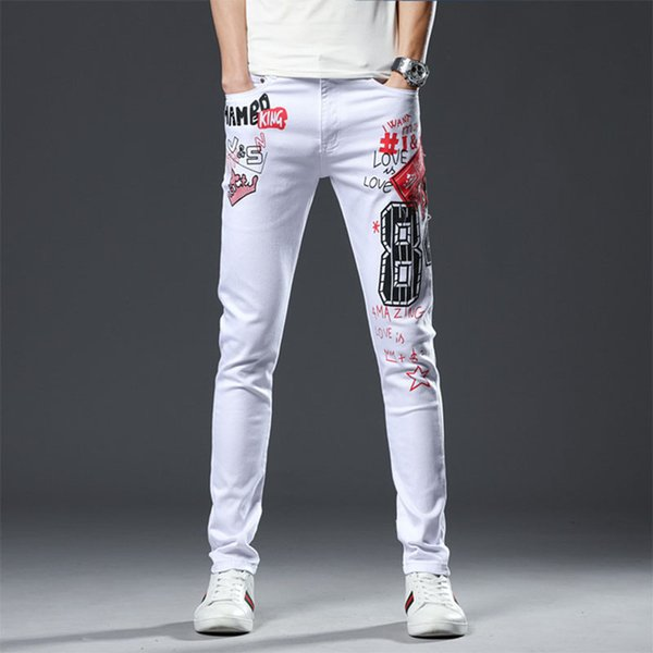 Men Jeans 2019 New High Quality Classic Design White 100% Cotton Letter Printing Fit Slim Pencil Pants Ripped Skinny Jeans Men