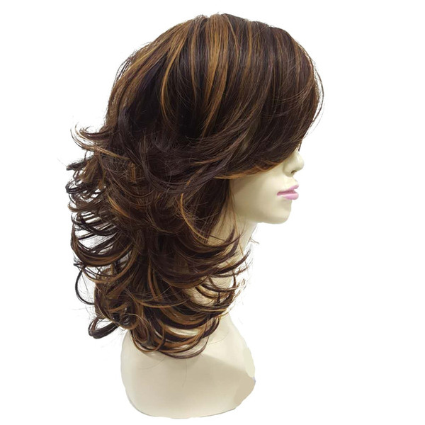 Women S Wig Auburn Layered Medium Curly Hairstyles For Thick Hair Synthetic Full Wigs