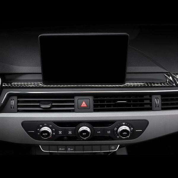 Стайлинга автомобилей Углеродного Волокна Навигация Украшения Рамка Крышка Приборной Панели Наклейки Наклейка Накладка Для Audi A4 B9 2017-19 Автоаксессуары