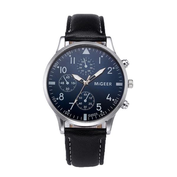 Fashion MIGEER top brand luxury Quartz watch Retro Design Leather Band Analog Alloy Wrist Watches reloj hombre deportivo A4