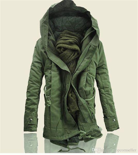 Mens Fashion Designer Jackets Winter Hooded Long Style Cotton Padded Coat Plus Size Military Jacket Gentlemen Coats