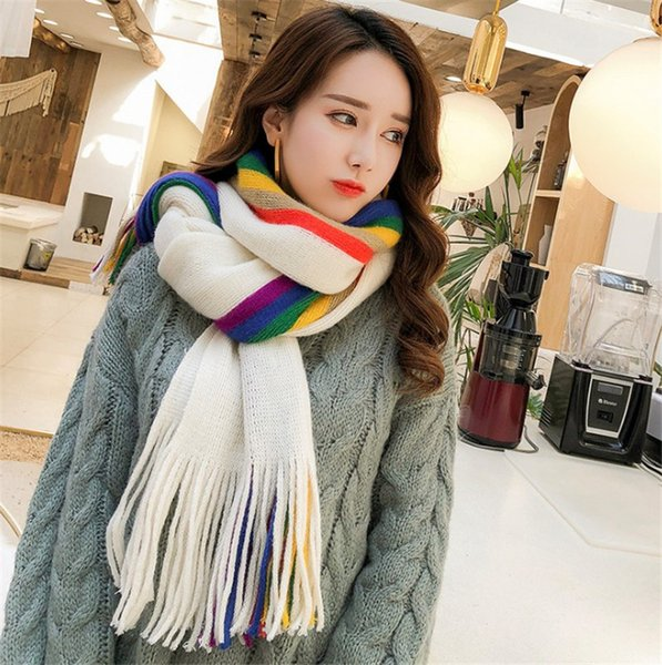 Women Fashion Soft Long Scarf Wraps Rainbow Shawl Stole Signature Cotton & Linen Scarves Lady Colorful Scarves Warmer Neck Scarf