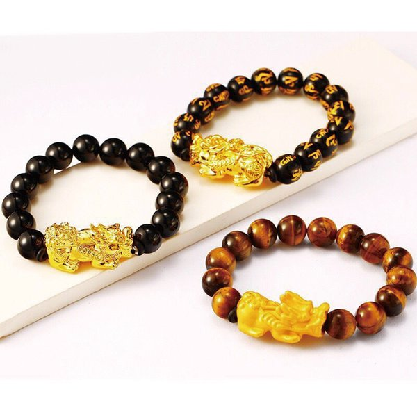 MxGxFam Brave Troops Beads Bracelet para hombres Mujeres 24 K Pure Gold Color Fashion Jewelry Auspicious Ancient Animal