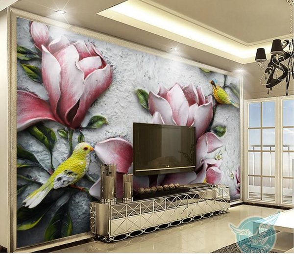 Custom Photo Wall Paper 3D European Style 3D embossed magnolia birdLarge Mural Wallpaper For Bedroom Living Room Wall