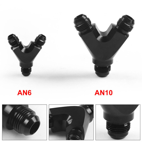 best selling 3-Way Y-Block Fitting Adapter AN6 AN10 6-AN 10-AN Male to 2X AN6 AN10 6-AN 10-AN Male BLACK