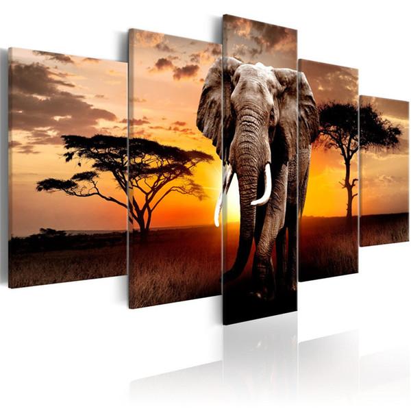 Taladro cuadrado / redondo completo 5D DIY diamante pintura 5pc Elefante Imágenes mosaico Diamante Bordado Wall Arts J0845