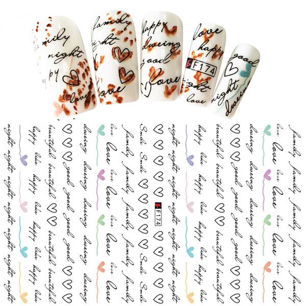 Caliente 1 Hoja en Forma de Corazón Carta Diseño 3D Decal Nail Slider Art DIY Decoraciones Etiqueta para Manicura DIY Adhesivo Consejos BEF174