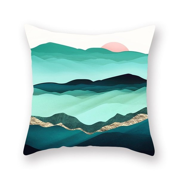 Mountain Sun Sea Pillow Case Sleeping Comfortable Soft Watercolor Cushion Cover Seat Decorative Home Pillowcases 2019 Hot