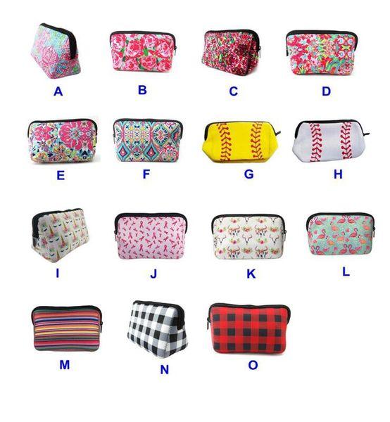 Bolsa de maquillaje de neopreno Estuche de viaje floral Lilly Béisbol de rosa Accesorios de neopreno Bolsa de cosméticos 16 estilo MMA1698