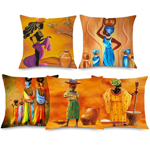 Exotic African Fashion Woman Cushion Covers Orange Color Painting Africa Life Decorative Linen Pillow Case Sofa Chair Decor