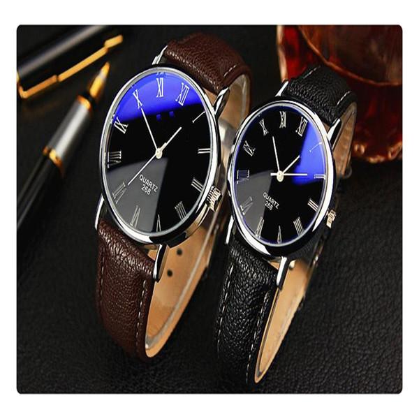 Sencillo Reloj de cuarzo Disco de ocio Moda Buffalo Grain Belt Watch 268 Magic Blue Black Face Brown Belt Gran cómodo para usar