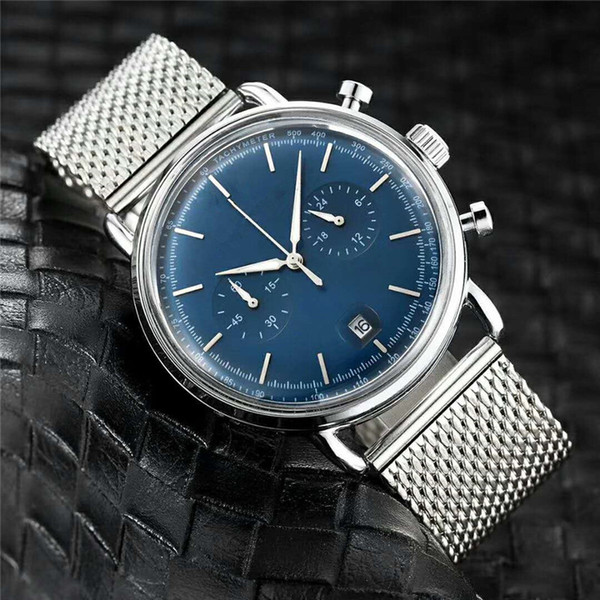 Tutti i quadranti funzionano Luxury Watch Blue Silver Orologio da uomo casual Business casual da uomo Orologio al quarzo Cinturino in acciaio inossidabile Cinturino sottile