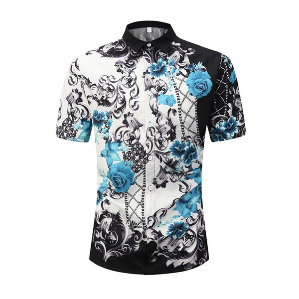 German brand clothing dress 3D printing Medusa shirt men's short-sleeved party club designer shirt dress